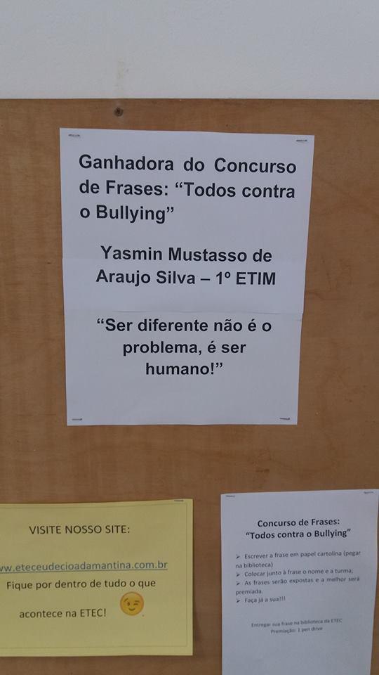 Concurso De Frases Premia Aluna Da Etec Etec Eudecio Adamantina