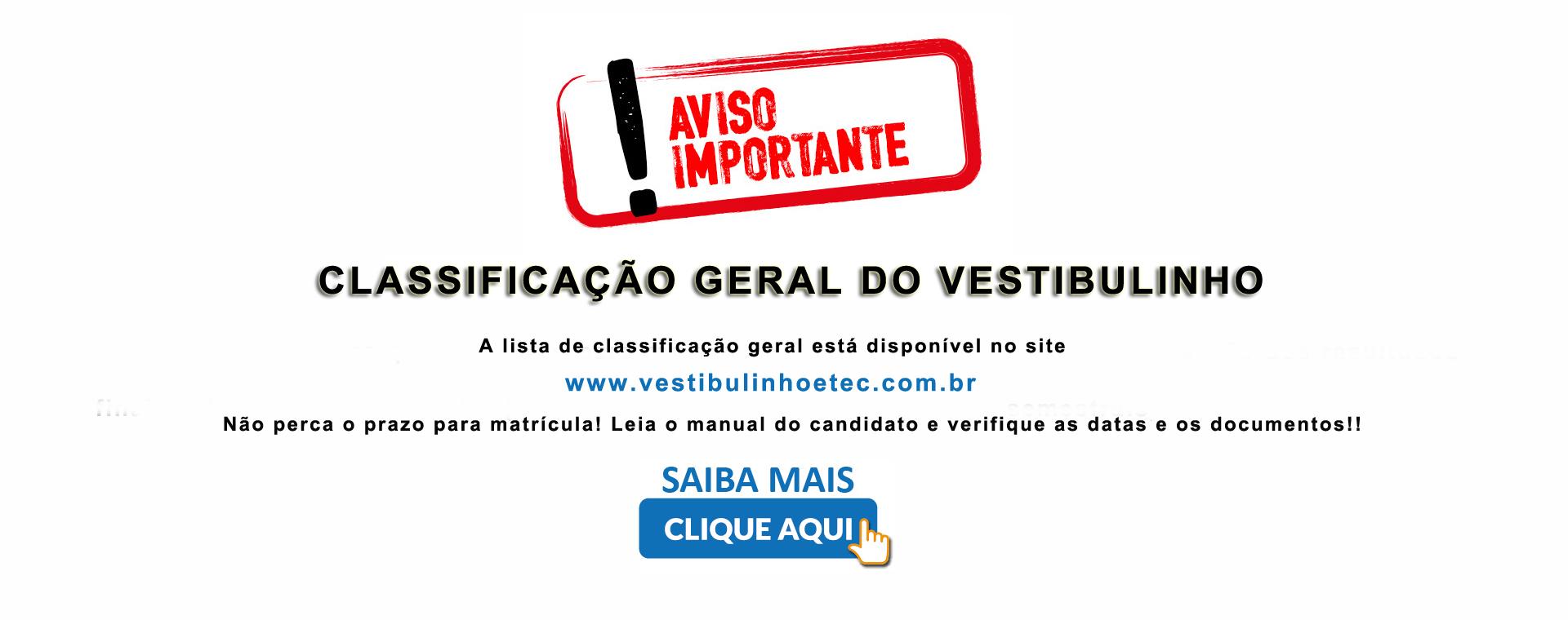 LISTA DE CLASSIFICACAO FINAL VESTIBULINHO